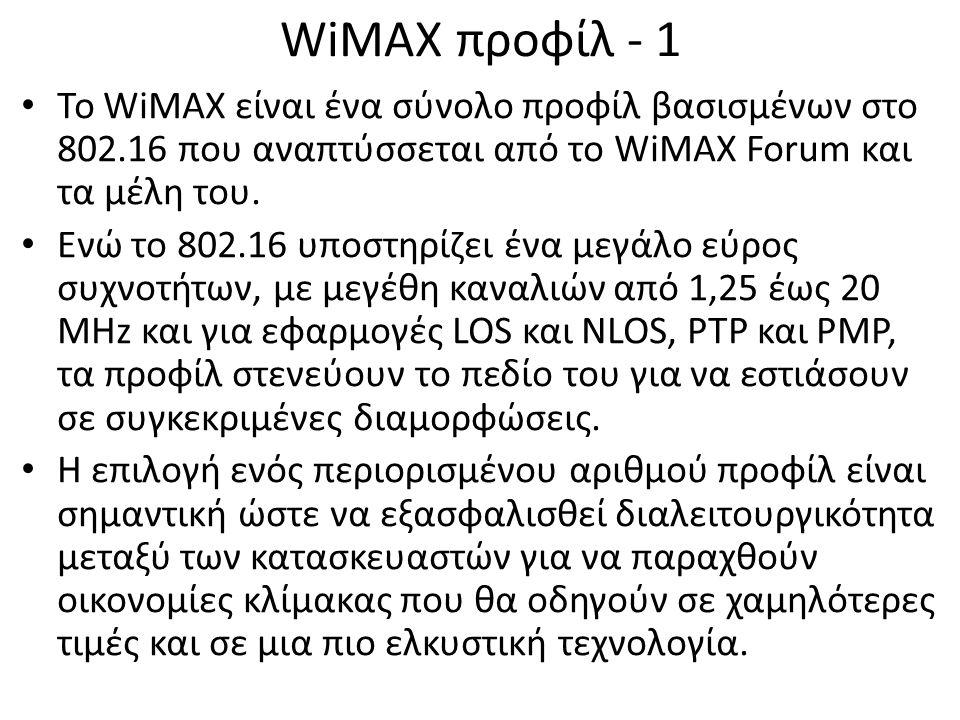 WiMAX προφίλ - 1 Το WiMAX είναι ένα σύνολο προφίλ βασισμένων στο 802.16 που αναπτύσσεται από το WiMAX Forum και τα μέλη του.