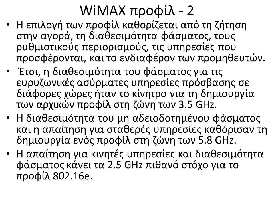 WiMAX προφίλ - 2 Η επιλογή των προφίλ καθορίζεται από τη ζήτηση στην αγορά, τη διαθεσιμότητα φάσματος, τους ρυθμιστικούς περιορισμούς, τις υπηρεσίες που προσφέρονται, και το ενδιαφέρον των προμηθευτών.