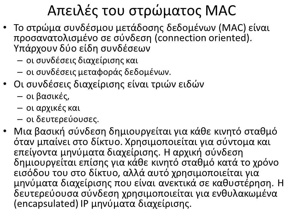 Απειλές του στρώματος MAC Το στρώμα συνδέσμου μετάδοσης δεδομένων (MAC) είναι προσανατολισμένο σε σύνδεση (connection oriented).