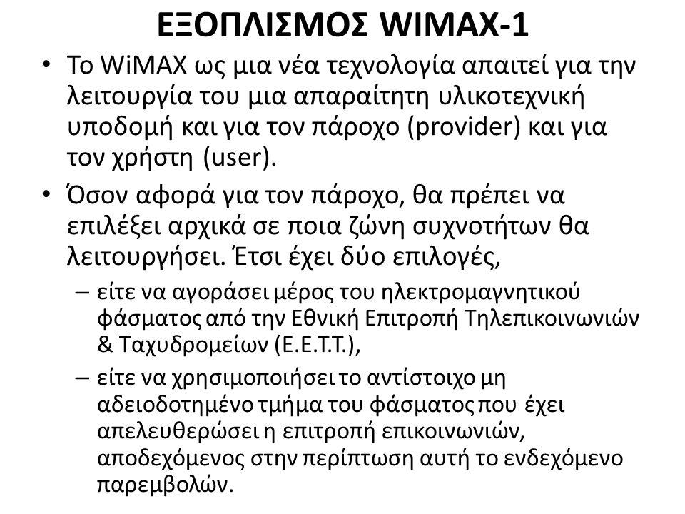 ΕΞΟΠΛΙΣΜΟΣ WIMAX-1 Το WiMAX ως μια νέα τεχνολογία απαιτεί για την λειτουργία του μια απαραίτητη υλικοτεχνική υποδομή και για τον πάροχο (provider) και για τον χρήστη (user).