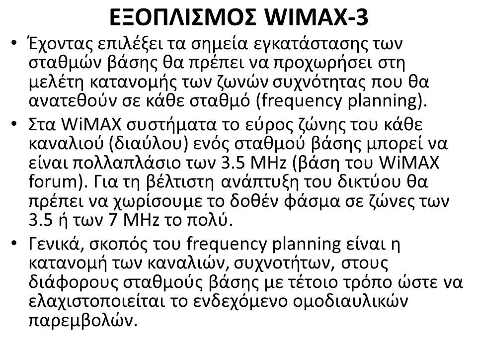 ΕΞΟΠΛΙΣΜΟΣ WIMAX-3 Έχοντας επιλέξει τα σημεία εγκατάστασης των σταθμών βάσης θα πρέπει να προχωρήσει στη μελέτη κατανομής των ζωνών συχνότητας που θα ανατεθούν σε κάθε σταθμό (frequency planning).