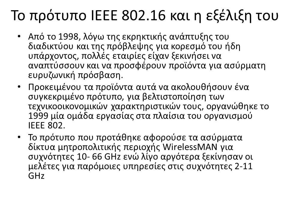 Το πρότυπο IEEE 802.16 και η εξέλιξη του Από το 1998, λόγω της εκρηκτικής ανάπτυξης του διαδικτύου και της πρόβλεψης για κορεσμό του ήδη υπάρχοντος, πολλές εταιρίες είχαν ξεκινήσει να αναπτύσσουν και να προσφέρουν προϊόντα για ασύρματη ευρυζωνική πρόσβαση.