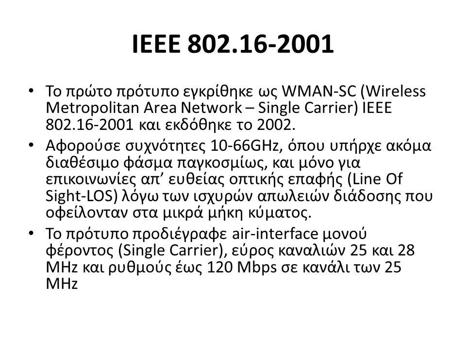 ΙΕΕΕ 802.16-2001 Το πρώτο πρότυπο εγκρίθηκε ως WMAN-SC (Wireless Metropolitan Area Network – Single Carrier) ΙΕΕΕ 802.16-2001 και εκδόθηκε το 2002.