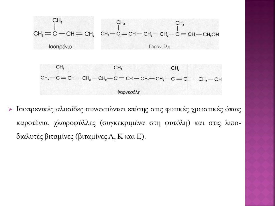  Ισοπρενικές αλυσίδες συναντώνται επίσης στις φυτικές χρωστικές όπως καροτένια, χλωροφύλλες (συγκεκριμένα στη φυτόλη) και στις λιπο- διαλυτές βιταμίνες (βιταμίνες Α, Κ και Ε).