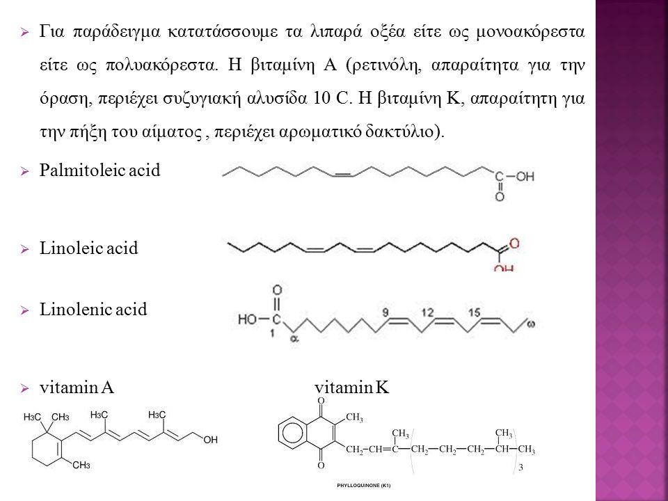  Για παράδειγμα κατατάσσουμε τα λιπαρά οξέα είτε ως μονοακόρεστα είτε ως πολυακόρεστα. Η βιταμίνη Α (ρετινόλη, απαραίτητα για την όραση, περιέχει συζ