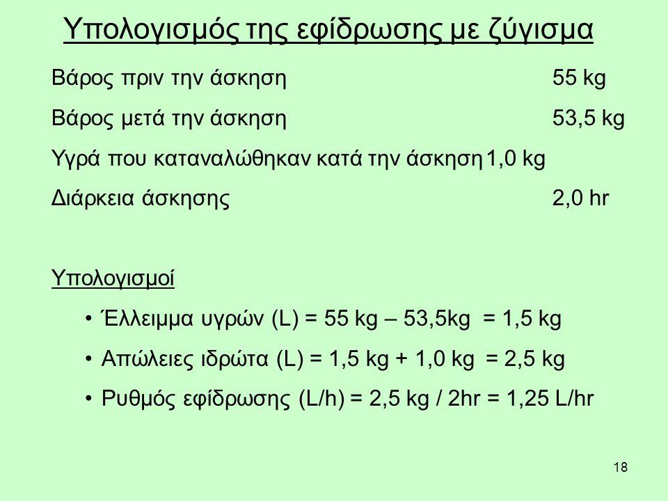 18 Υπολογισμός της εφίδρωσης με ζύγισμα Βάρος πριν την άσκηση55 kg Βάρος μετά την άσκηση53,5 kg Υγρά που καταναλώθηκαν κατά την άσκηση1,0 kg Διάρκεια άσκησης2,0 hr Υπολογισμοί Έλλειμμα υγρών (L) = 55 kg – 53,5kg = 1,5 kg Απώλειες ιδρώτα (L) = 1,5 kg + 1,0 kg = 2,5 kg Ρυθμός εφίδρωσης (L/h) = 2,5 kg / 2hr = 1,25 L/hr
