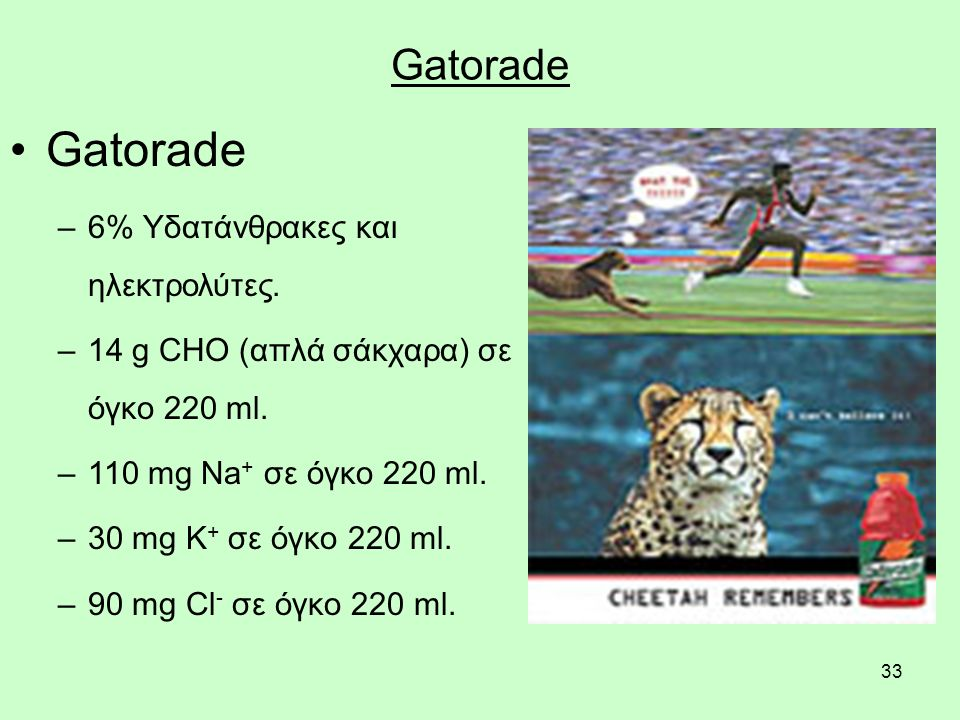 33 Gatorade –6% Υδατάνθρακες και ηλεκτρολύτες. –14 g CHO (απλά σάκχαρα) σε όγκο 220 ml.