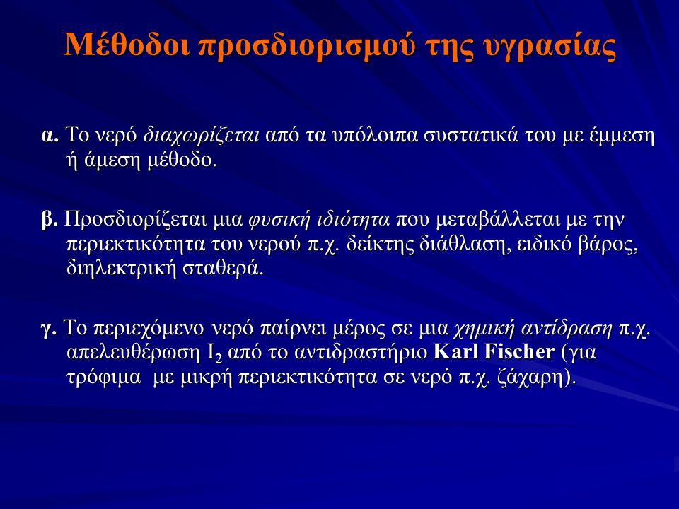 Μέθοδοι προσδιορισμού της υγρασίας α.