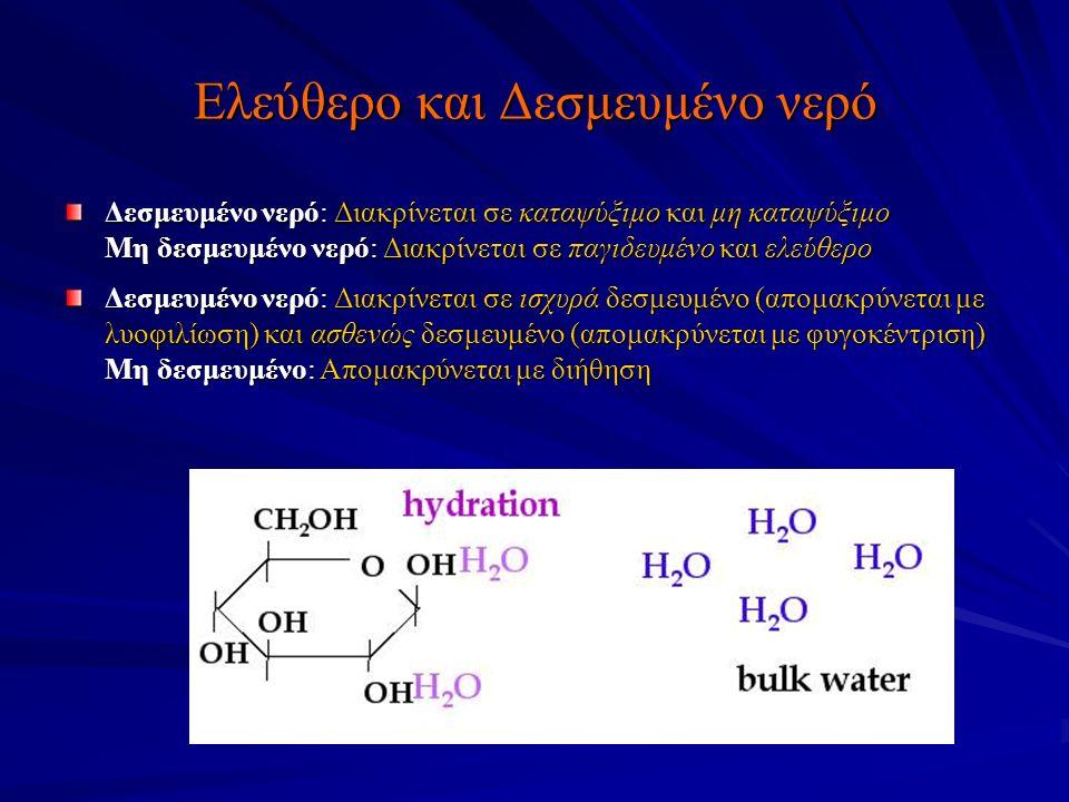 Ελεύθερο και Δεσμευμένο νερό Δεσμευμένο νερό: Διακρίνεται σε καταψύξιμο και μη καταψύξιμο Μη δεσμευμένο νερό: Διακρίνεται σε παγιδευμένο και ελεύθερο Δεσμευμένο νερό: Διακρίνεται σε ισχυρά δεσμευμένο (απομακρύνεται με λυοφιλίωση) και ασθενώς δεσμευμένο (απομακρύνεται με φυγοκέντριση) Μη δεσμευμένο: Απομακρύνεται με διήθηση