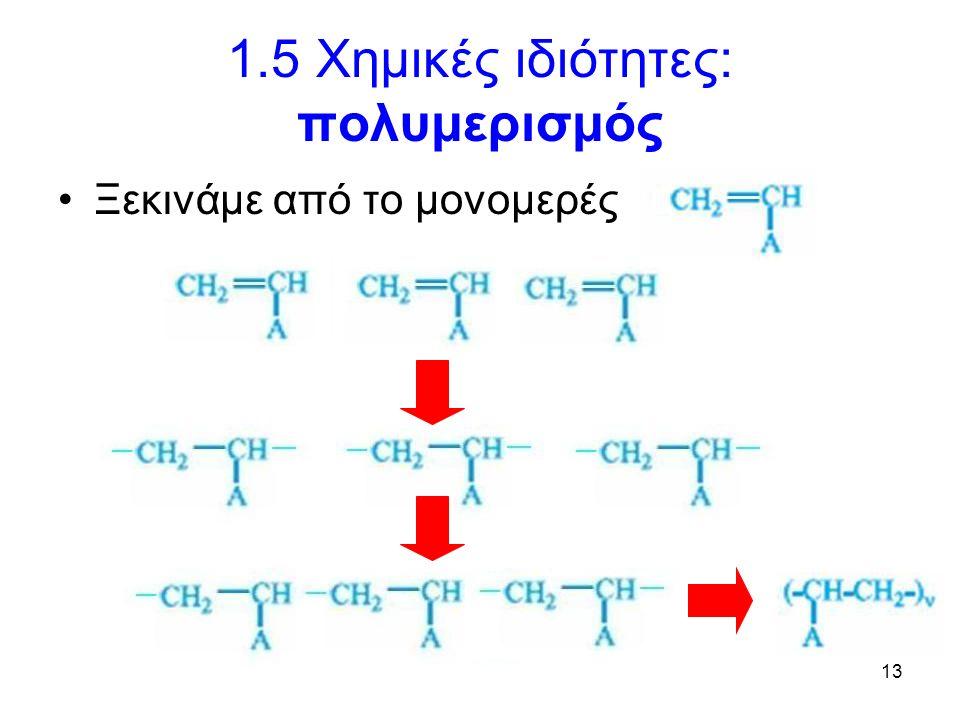 13 1.5 Χημικές ιδιότητες: πολυμερισμός Ξεκινάμε από το μονομερές