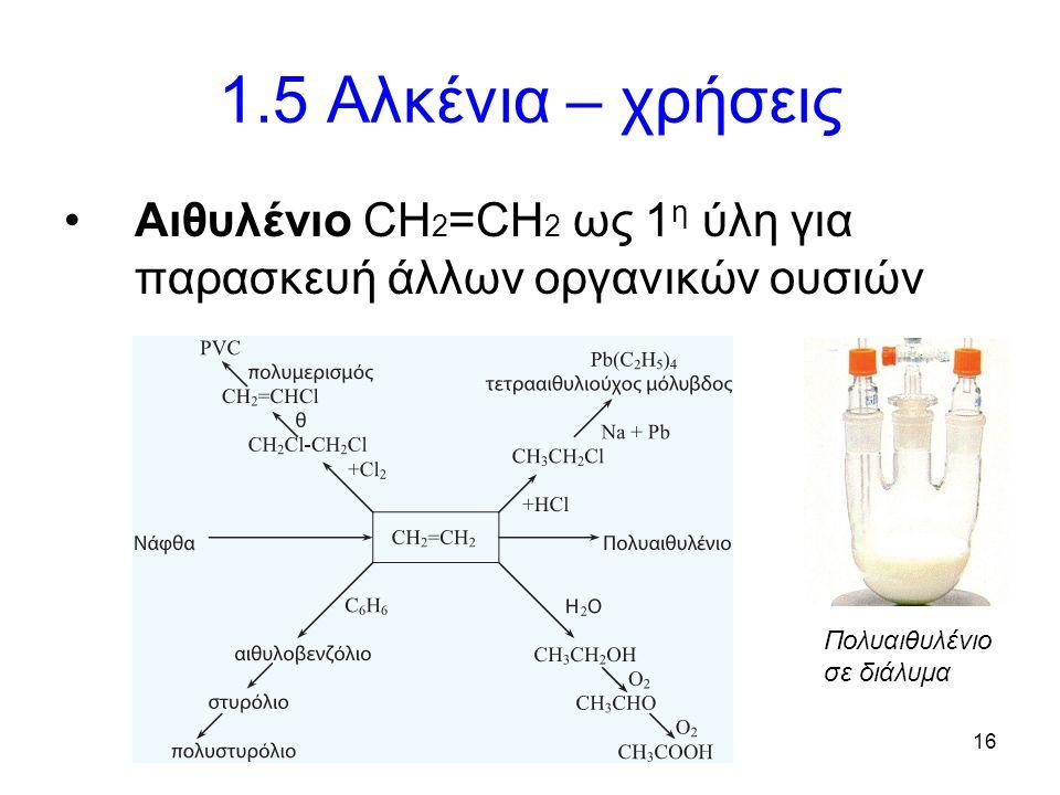 16 1.5 Αλκένια – χρήσεις Αιθυλένιο CH 2 =CH 2 ως 1 η ύλη για παρασκευή άλλων οργανικών ουσιών Πολυαιθυλένιο σε διάλυμα