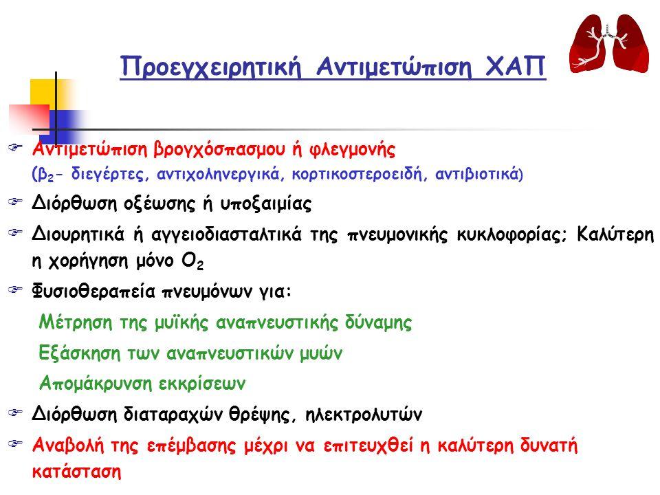 Προεγχειρητική Αντιμετώπιση ΧΑΠ FΑντιμετώπιση βρογχόσπασμου ή φλεγμονής (β 2 - διεγέρτες, αντιχοληνεργικά, κορτικοστεροειδή, αντιβιοτικά ) FΔιόρθωση οξέωσης ή υποξαιμίας FΔιουρητικά ή αγγειοδιασταλτικά της πνευμονικής κυκλοφορίας; Καλύτερη η χορήγηση μόνο Ο 2 FΦυσιοθεραπεία πνευμόνων για: Μέτρηση της μυϊκής αναπνευστικής δύναμης Εξάσκηση των αναπνευστικών μυών Απομάκρυνση εκκρίσεων FΔιόρθωση διαταραχών θρέψης, ηλεκτρολυτών FΑναβολή της επέμβασης μέχρι να επιτευχθεί η καλύτερη δυνατή κατάσταση