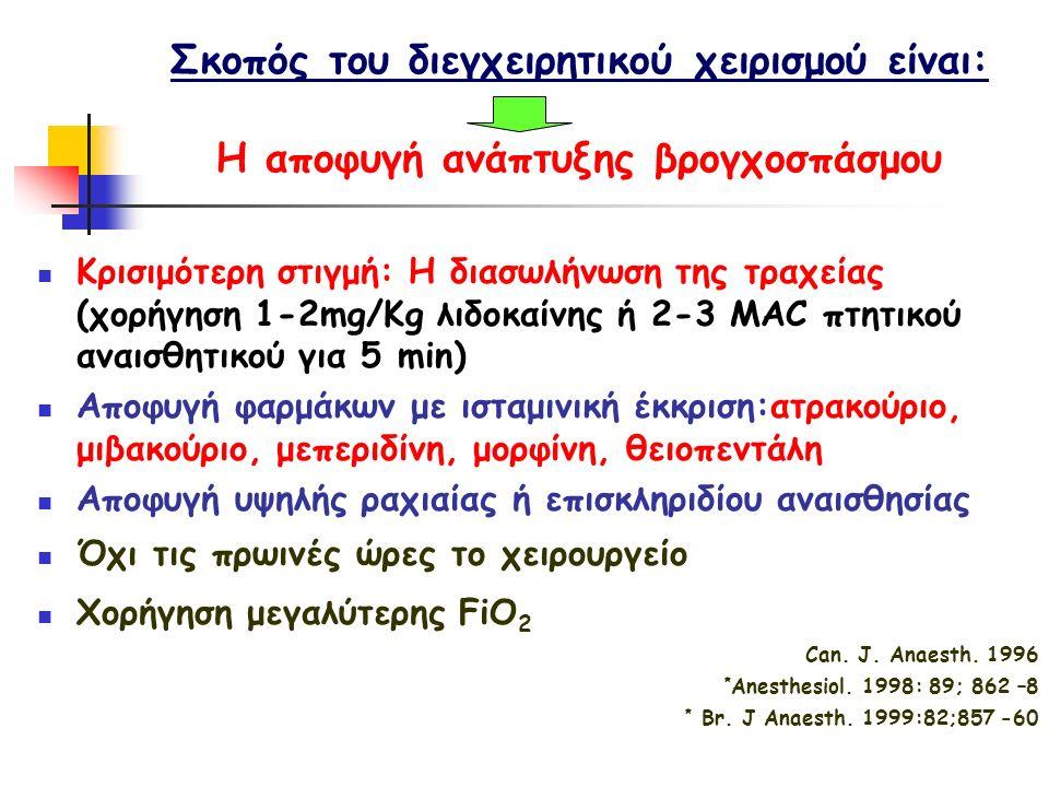Σκοπός του διεγχειρητικού χειρισμού είναι: Η αποφυγή ανάπτυξης βρογχοσπάσμου Κρισιμότερη στιγμή: Η διασωλήνωση της τραχείας (χορήγηση 1-2mg/Kg λιδοκαίνης ή 2-3 MAC πτητικού αναισθητικού για 5 min) Αποφυγή φαρμάκων με ισταμινική έκκριση:ατρακούριο, μιβακούριο, μεπεριδίνη, μορφίνη, θειοπεντάλη Αποφυγή υψηλής ραχιαίας ή επισκληριδίου αναισθησίας Όχι τις πρωινές ώρες το χειρουργείο Χορήγηση μεγαλύτερης FiO 2 Can.