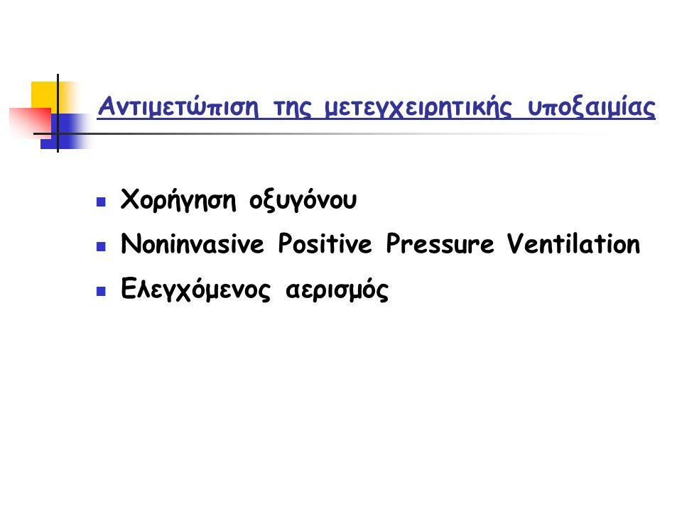 Αντιμετώπιση της μετεγχειρητικής υποξαιμίας Χορήγηση οξυγόνου Noninvasive Positive Pressure Ventilation Ελεγχόμενος αερισμός
