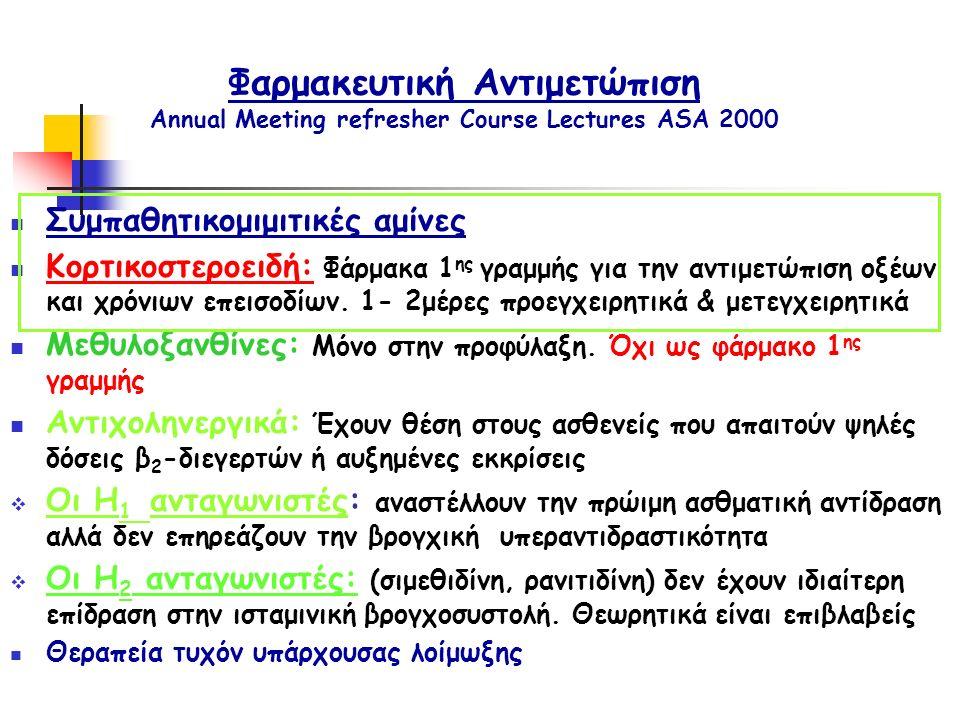 Φαρμακευτική Αντιμετώπιση Annual Meeting refresher Course Lectures ASA 2000 Συμπαθητικομιμιτικές αμίνες Κορτικοστεροειδή: Φάρμακα 1 ης γραμμής για την αντιμετώπιση οξέων και χρόνιων επεισοδίων.
