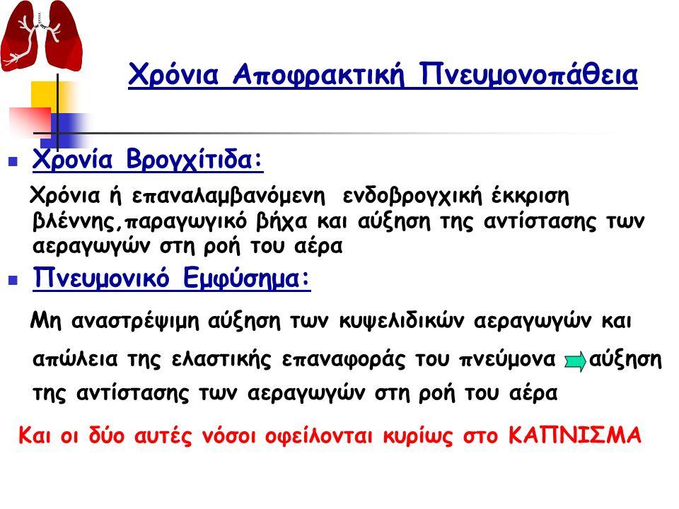 Χρόνια Αποφρακτική Πνευμονοπάθεια Βρογχεκτασία: Χαρακτηρίζεται από εντοπισμένη μη αναστρέψιμη διάταση των βρόγχων, λόγω καταστροφικής φλεγμονής των βρόγχων & του τοιχώματος των Κυστική Ίνωση: Οφείλεται σε γενετική τροποποίηση του χρωμοσώματος 7, που επιδρά στα κανάλια Cl, με αποτέλεσμα διαταραχές στους εξωκρινείς αδένες (ιδρωτοποιούς, πάγκρεας, έντερο, πνεύμονες).