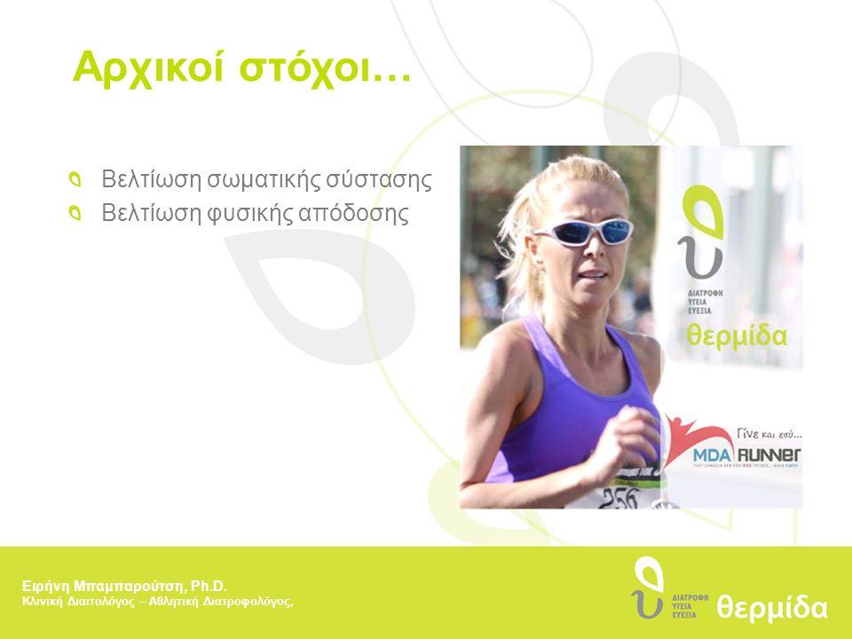Αρχικοί στόχοι… Βελτίωση σωματικής σύστασης Βελτίωση φυσικής απόδοσης Ειρήνη Μπαμπαρούτση, Ph.D. Κλινική Διαιτολόγος – Αθλητική Διατροφολόγος,