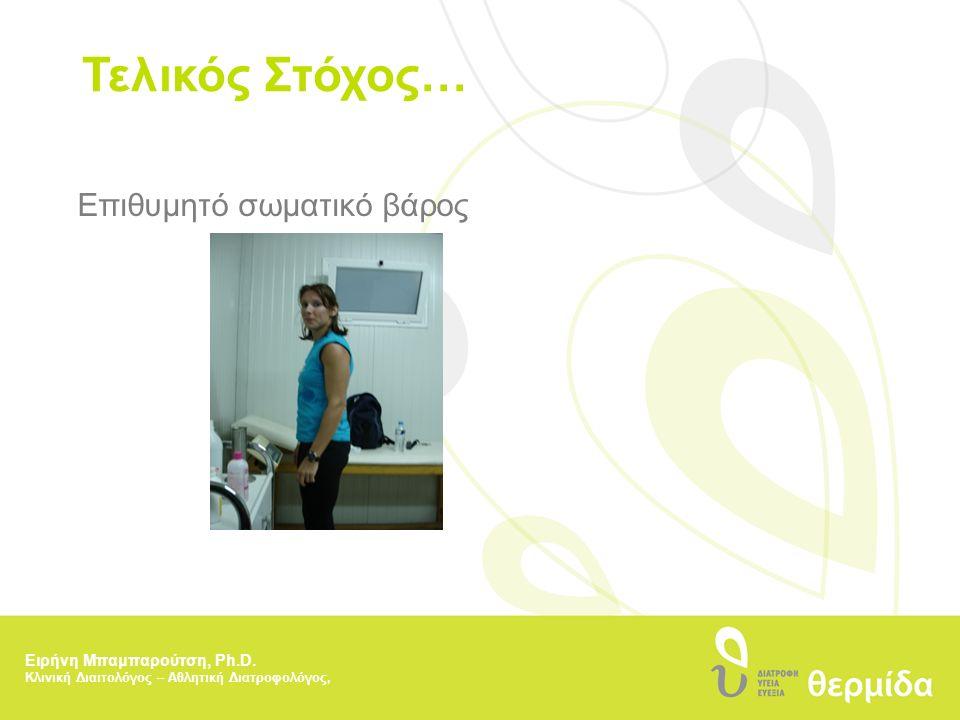 Τελικός Στόχος… Επιθυμητό σωματικό βάρος Ειρήνη Μπαμπαρούτση, Ph.D. Κλινική Διαιτολόγος – Αθλητική Διατροφολόγος,