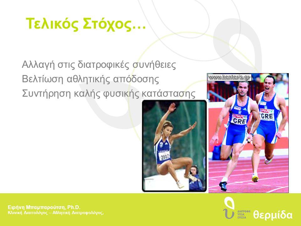 Τελικός Στόχος… Αλλαγή στις διατροφικές συνήθειες Βελτίωση αθλητικής απόδοσης Συντήρηση καλής φυσικής κατάστασης Ειρήνη Μπαμπαρούτση, Ph.D. Κλινική Δι
