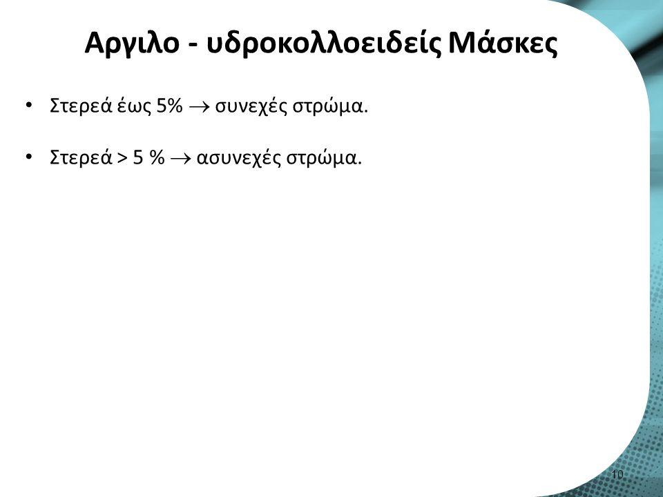 Αργιλο - υδροκολλοειδείς Μάσκες Στερεά έως 5%  συνεχές στρώμα. Στερεά > 5 %  ασυνεχές στρώμα. 10