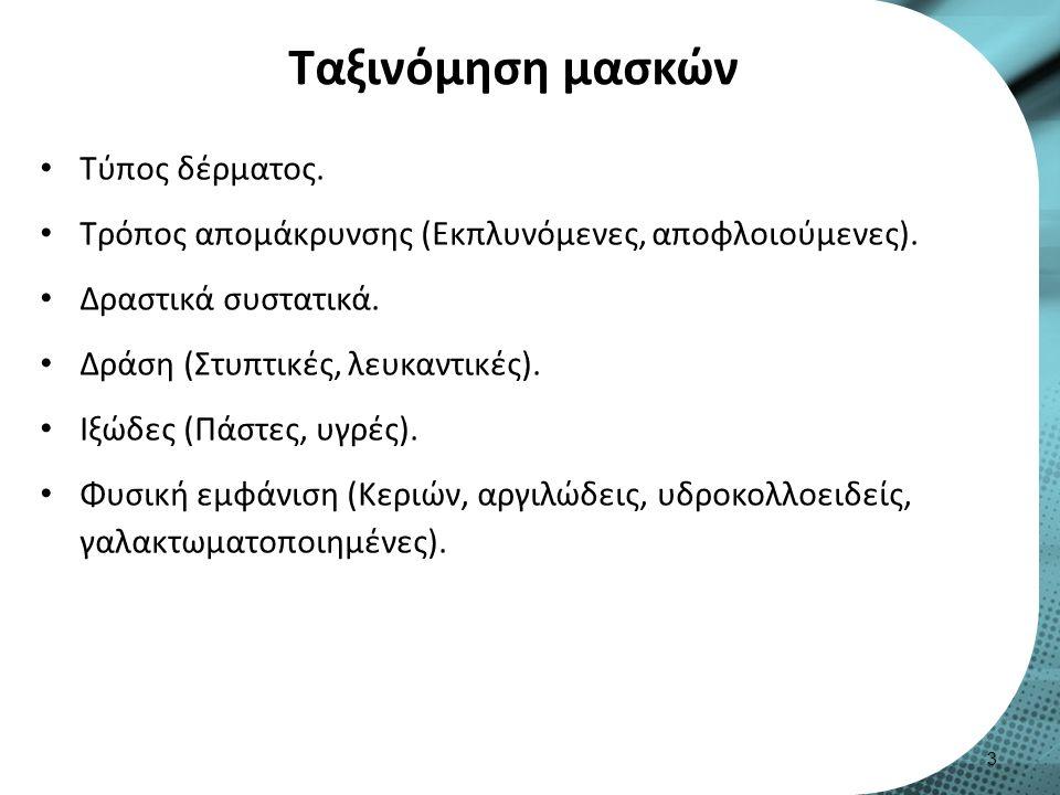 Ταξινόμηση μασκών Τύπος δέρματος. Τρόπος απομάκρυνσης (Εκπλυνόμενες, αποφλοιούμενες). Δραστικά συστατικά. Δράση (Στυπτικές, λευκαντικές). Ιξώδες (Πάστ