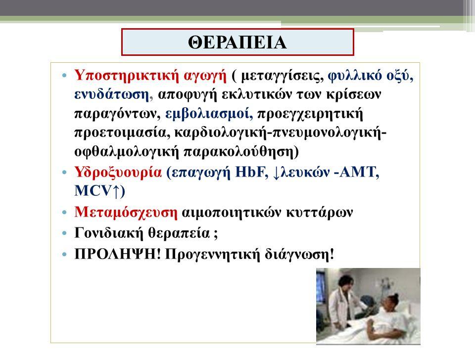ΘΕΡΑΠΕΙΑ Υποστηρικτική αγωγή ( μεταγγίσεις, φυλλικό οξύ, ενυδάτωση, αποφυγή εκλυτικών των κρίσεων παραγόντων, εμβολιασμοί, προεγχειρητική προετοιμασία, καρδιολογική-πνευμονολογική- οφθαλμολογική παρακολούθηση) Υδροξυουρία (επαγωγή HbF, ↓λευκών -ΑΜΤ, MCV↑) Μεταμόσχευση αιμοποιητικών κυττάρων Γονιδιακή θεραπεία ; ΠΡΟΛΗΨΗ.