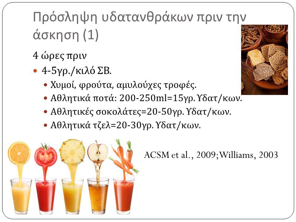 Πρόσληψη υδατανθράκων πριν την άσκηση (1) 4 ώρες πριν 4-5 γρ./ κιλό ΣΒ. Χυμοί, φρούτα, αμυλούχες τροφές. Αθλητικά ποτά : 200-250ml=15 γρ. Υδατ / κων.