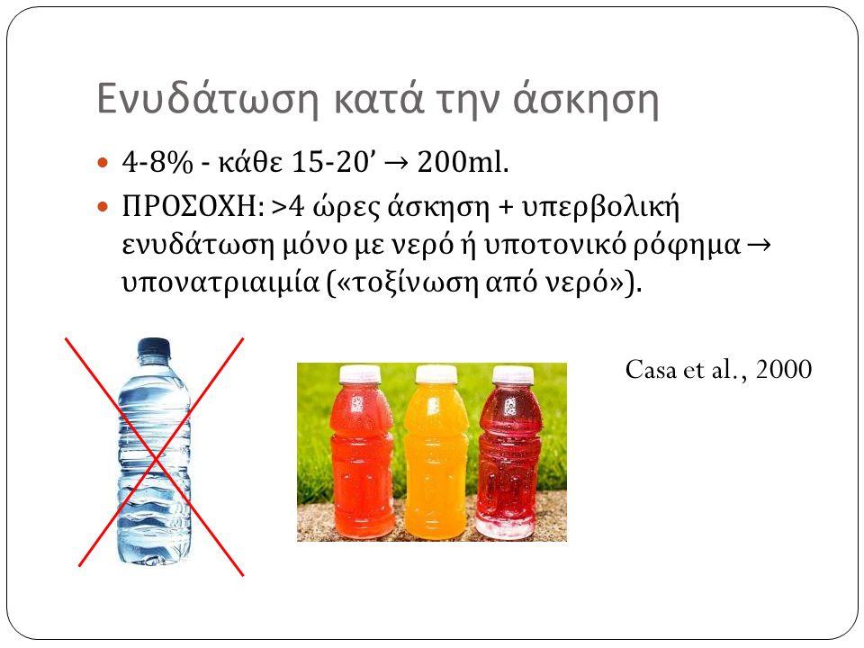 Ενυδάτωση κατά την άσκηση 4-8% - κάθε 15-20' → 200ml. ΠΡΟΣΟΧΗ : >4 ώρες άσκηση + υπερβολική ενυδάτωση μόνο με νερό ή υποτονικό ρόφημα → υπονατριαιμία