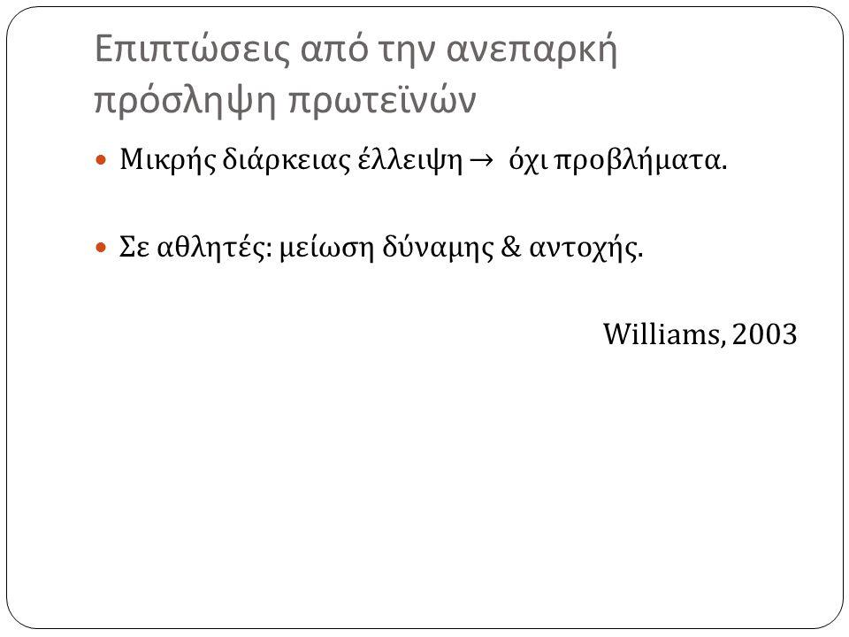 Επιπτώσεις από την ανεπαρκή πρόσληψη πρωτεϊνών Μικρής διάρκειας έλλειψη → όχι προβλήματα. Σε αθλητές : μείωση δύναμης & αντοχής. Williams, 2003
