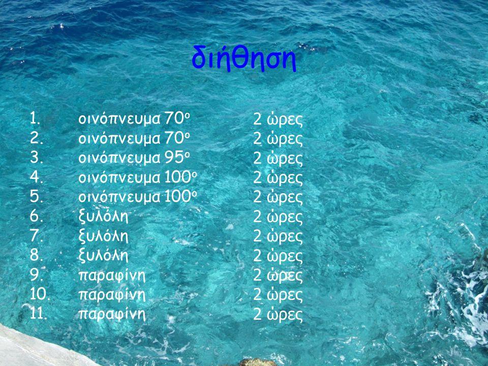 διήθηση 1. οινόπνευμα 70 ο 2. οινόπνευμα 70 ο 3. οινόπνευμα 95 ο 4. οινόπνευμα 100 ο 5. οινόπνευμα 100 ο 6. ξυλόλη 7. ξυλόλη 8. ξυλόλη 9. παραφίνη 10.