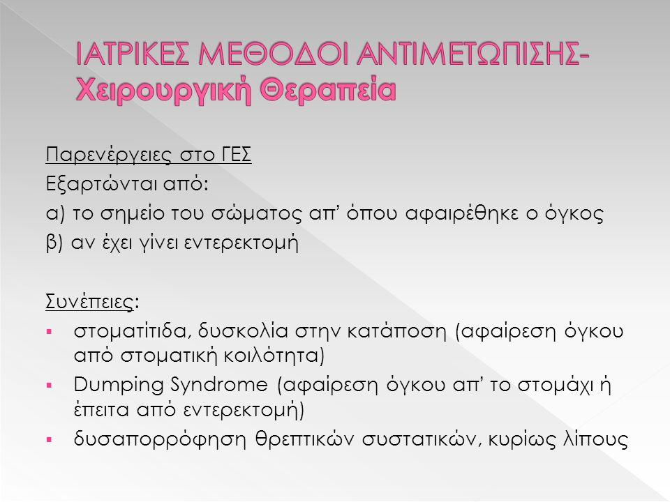Παρενέργειες στο ΓΕΣ Εξαρτώνται από: α) το σημείο του σώματος απ' όπου αφαιρέθηκε ο όγκος β) αν έχει γίνει εντερεκτομή Συνέπειες:  στοματίτιδα, δυσκολία στην κατάποση (αφαίρεση όγκου από στοματική κοιλότητα)  Dumping Syndrome (αφαίρεση όγκου απ' το στομάχι ή έπειτα από εντερεκτομή)  δυσαπορρόφηση θρεπτικών συστατικών, κυρίως λίπους