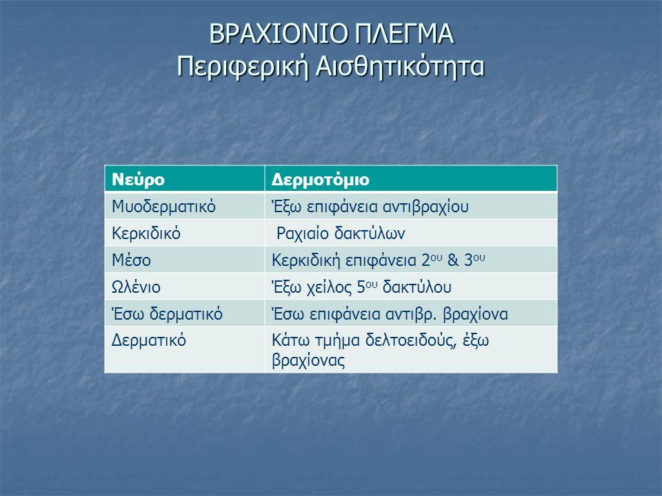 ΒΡΑΧΙΟΝΙΟ ΠΛΕΓΜΑ Περιφερική Αισθητικότητα ΝεύροΔερμοτόμιο ΜυοδερματικόΈξω επιφάνεια αντιβραχίου Κερκιδικό Ραχιαίο δακτύλων ΜέσοΚερκιδική επιφάνεια 2 ο