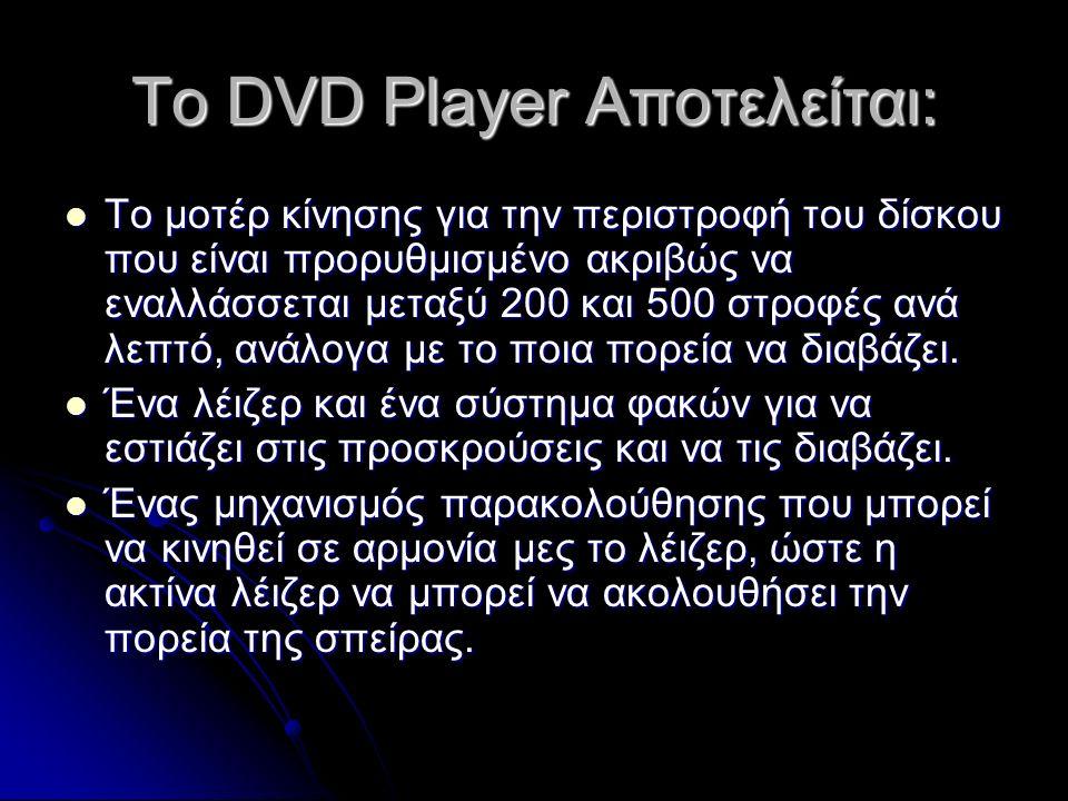 Το DVD Player Αποτελείται: Το μοτέρ κίνησης για την περιστροφή του δίσκου που είναι προρυθμισμένο ακριβώς να εναλλάσσεται μεταξύ 200 και 500 στροφές ανά λεπτό, ανάλογα με το ποια πορεία να διαβάζει.