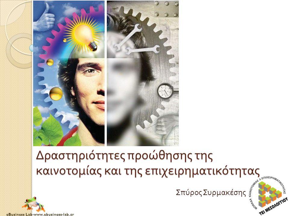 eBusiness Lab-www.ebusiness-lab.gr Δραστηριότητες προώθησης της καινοτομίας και της επιχειρηματικότητας Σπύρος Συρμακέσης