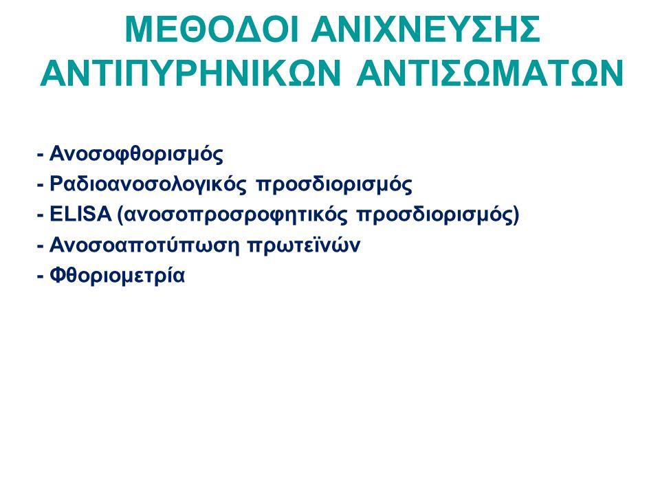 ΜΕΘΟΔΟΙ ΑΝΙΧΝΕΥΣΗΣ ΑΝΤΙΠΥΡΗΝΙΚΩΝ ΑΝΤΙΣΩΜΑΤΩΝ - Ανοσοφθορισμός - Ραδιοανοσολογικός προσδιορισμός - ELISA (ανοσοπροσροφητικός προσδιορισμός) - Ανοσοαποτύπωση πρωτεϊνών - Φθοριομετρία