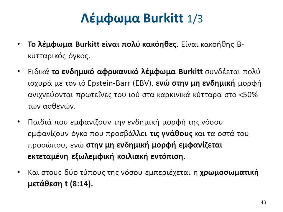 Λέμφωμα Burkitt 1/3 Το λέμφωμα Burkitt είναι πολύ κακόηθες. Είναι κακοήθης Β- κυτταρικός όγκος. Ειδικά το ενδημικό αφρικανικό λέμφωμα Burkitt συνδέετα