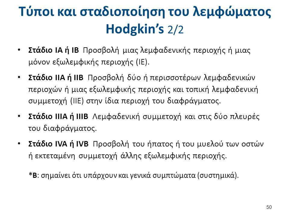 Τύποι και σταδιοποίηση του λεμφώματος Hodgkin's 2/2 Στάδιο ΙΑ ή ΙΒ Προσβολή μιας λεμφαδενικής περιοχής ή μιας μόνον εξωλεμφικής περιοχής (ΙΕ). Στάδιο