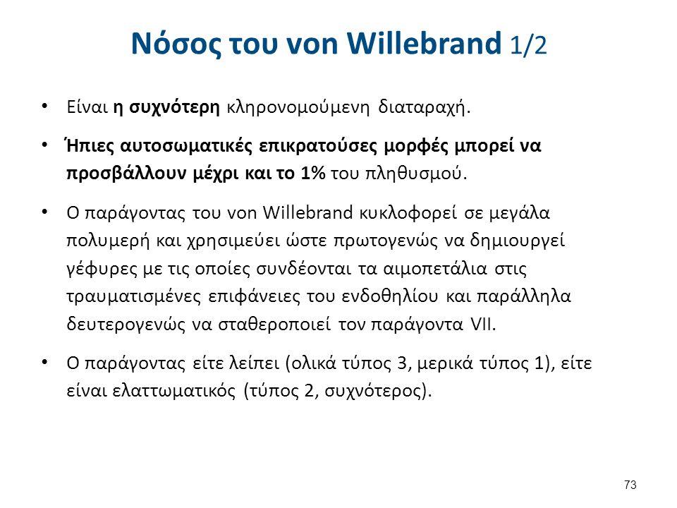 Νόσος του von Willebrand 1/2 Είναι η συχνότερη κληρονομούμενη διαταραχή. Ήπιες αυτοσωματικές επικρατούσες μορφές μπορεί να προσβάλλουν μέχρι και το 1%