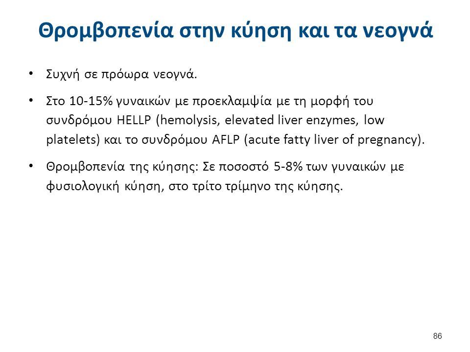 Θρομβοπενία στην κύηση και τα νεογνά Συχνή σε πρόωρα νεογνά. Στο 10-15% γυναικών με προεκλαμψία με τη μορφή του συνδρόμου ΗΕLLΡ (hemolysis, elevated l