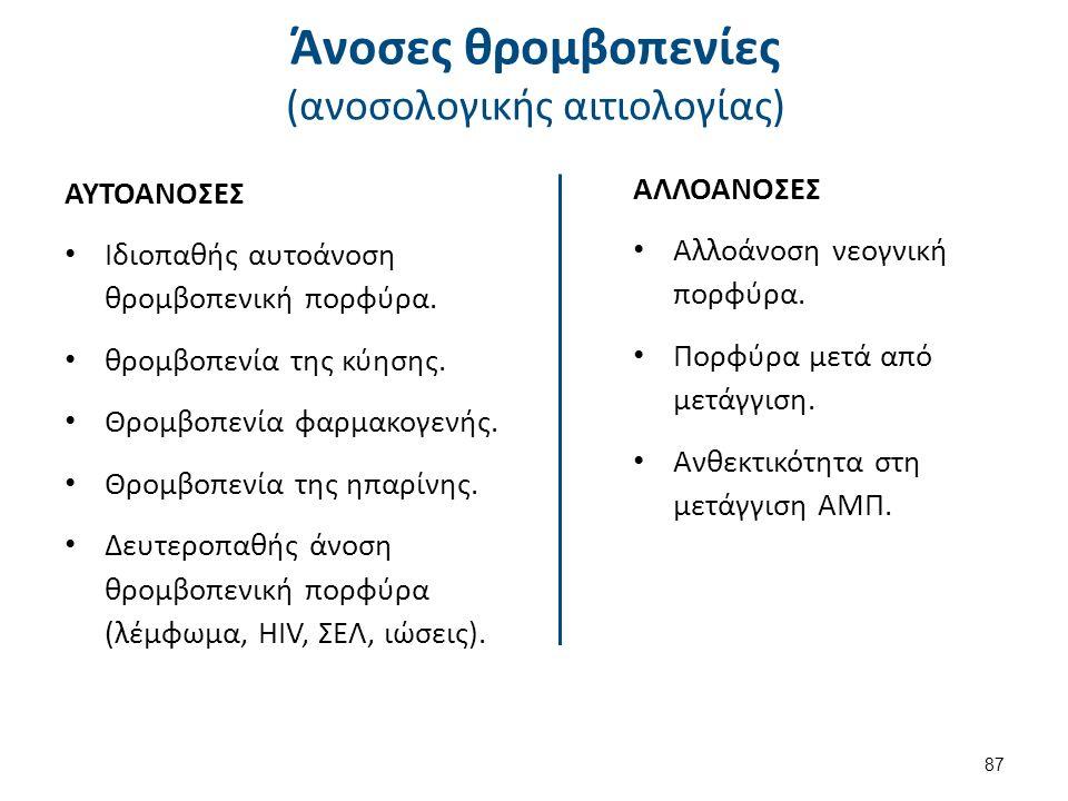 Άνοσες θρομβοπενίες (ανοσολογικής αιτιολογίας) ΑΥΤΟΑΝΟΣΕΣ Ιδιοπαθής αυτοάνοση θρομβοπενική πορφύρα. θρομβοπενία της κύησης. Θρομβοπενία φαρμακογενής.