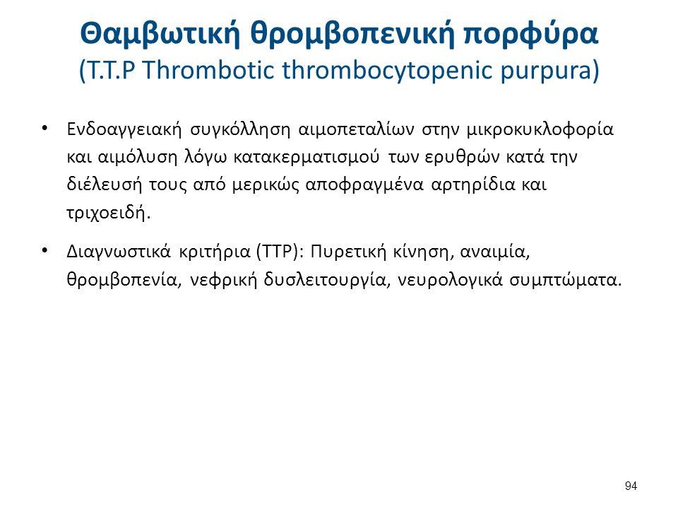 Θαμβωτική θρομβοπενική πορφύρα (Τ.Τ.Ρ Thrombotic thrombocytopenic purpura) Ενδοαγγειακή συγκόλληση αιμοπεταλίων στην μικροκυκλοφορία και αιμόλυση λόγω
