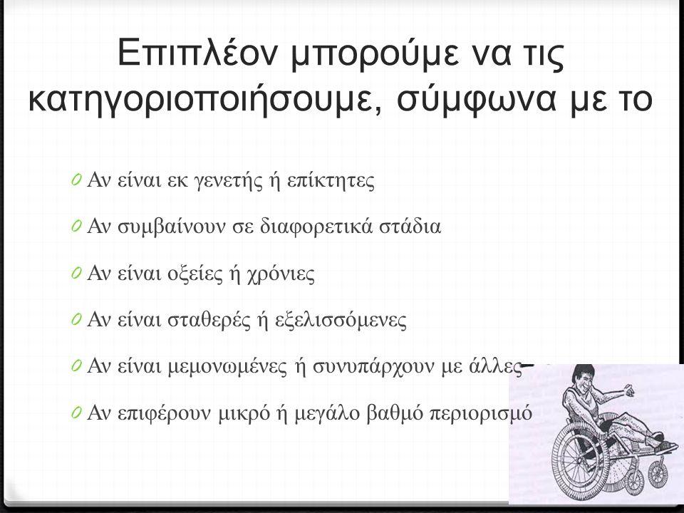 0 Διαταραχές στις κινήσεις των αρθρώσεων με αποτέλεσμα μακροχρόνια λειτουργική ανικανότητα και αναπηρία.
