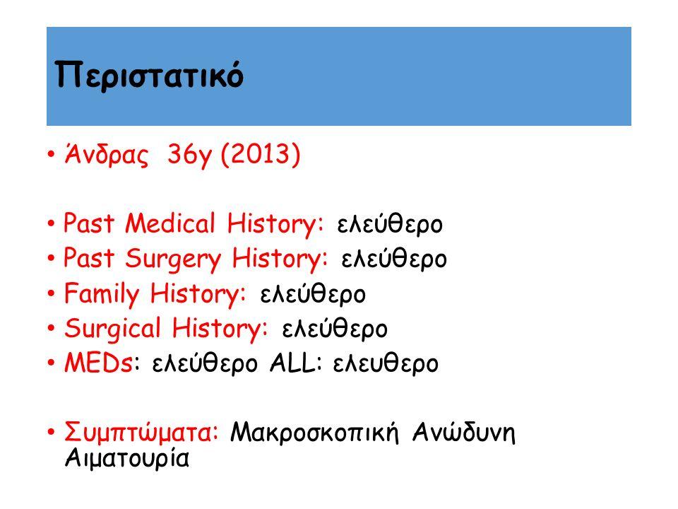 Περιστατικό Άνδρας 36y (2013) Past Medical History: ελεύθερο Past Surgery History: ελεύθερο Family History: ελεύθερο Surgical History: ελεύθερο MEDs: ελεύθερο ALL: ελευθερο Συμπτώματα: Μακροσκοπική Ανώδυνη Αιματουρία