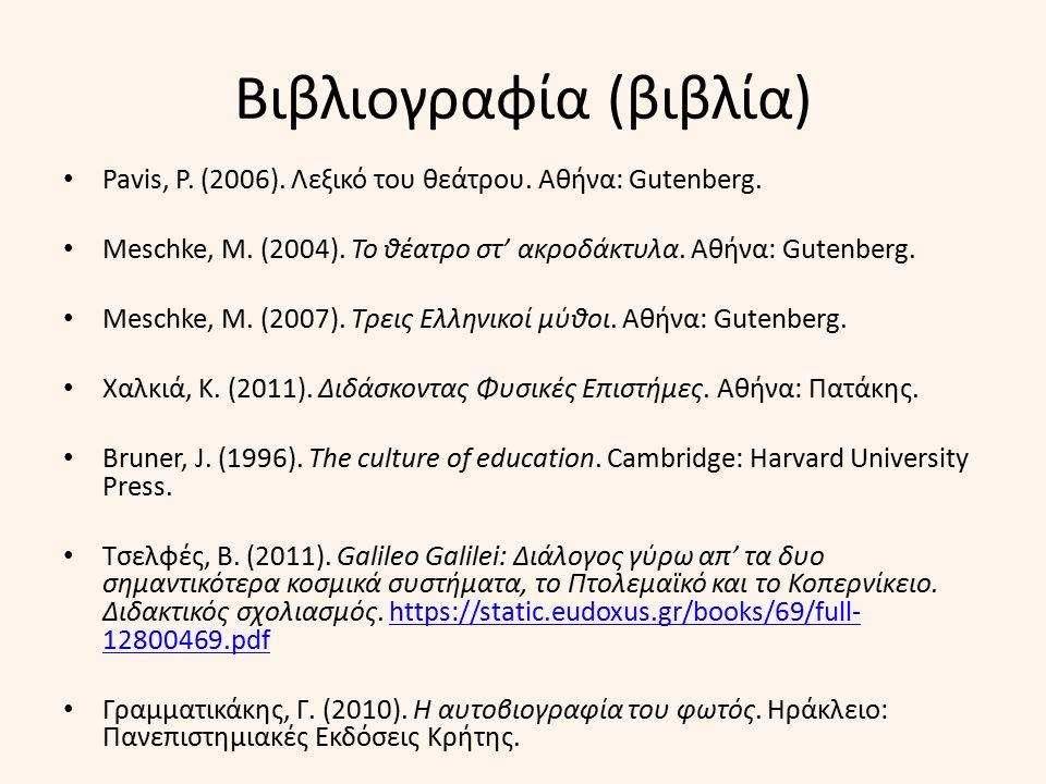 Βιβλιογραφία (βιβλία) Pavis, P. (2006). Λεξικό του θεάτρου. Αθήνα: Gutenberg. Meschke, M. (2004). Το θέατρο στ' ακροδάκτυλα. Αθήνα: Gutenberg. Meschke