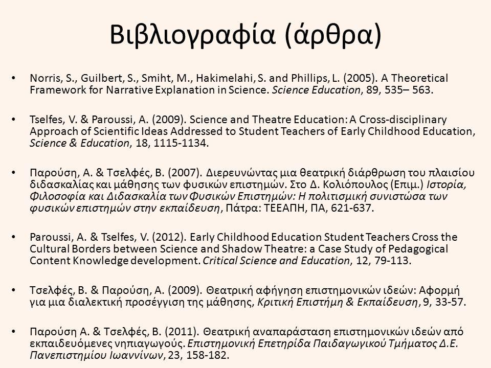 Βιβλιογραφία (άρθρα) Norris, S., Guilbert, S., Smiht, M., Hakimelahi, S. and Phillips, L. (2005). A Theoretical Framework for Narrative Explanation in