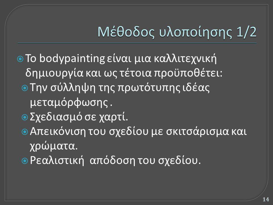 To bodypainting είναι μια καλλιτεχνική δημιουργία και ως τέτοια προϋποθέτει:  Την σύλληψη της πρωτότυπης ιδέας μεταμόρφωσης.  Σχεδιασμό σε χαρτί.