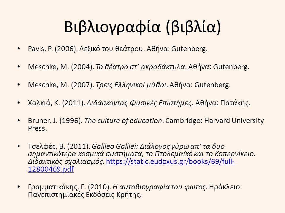 Βιβλιογραφία (βιβλία) Pavis, P. (2006). Λεξικό του θεάτρου.