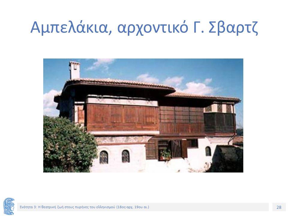 28 Ενότητα 3: Η θεατρική ζωή στους πυρήνες του ελληνισμού (18ος-αρχ.