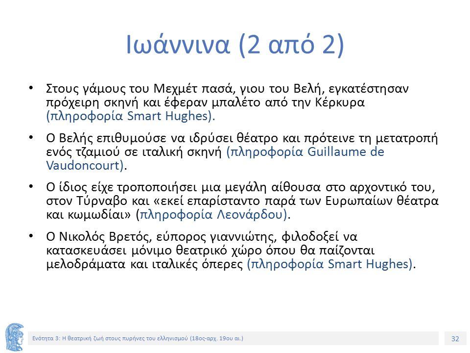 32 Ενότητα 3: Η θεατρική ζωή στους πυρήνες του ελληνισμού (18ος-αρχ.