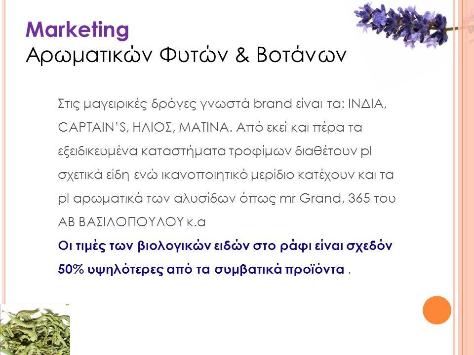 Marketing Αρωματικών Φυτών & Βοτάνων Στις μαγειρικές δρόγες γνωστά brand είναι τα: ΙΝΔΙΑ, CAPTAIN'S, ΗΛΙΟΣ, ΜΑΤΙΝΑ.